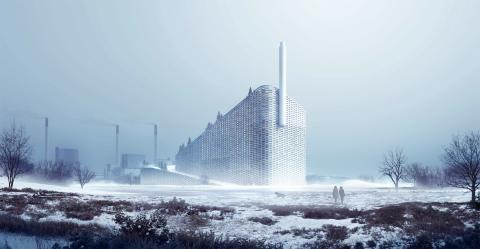 Amager Backe är centralt placerad i Köpenhamn och energibolaget Hofor satsar på snygg arkitektur.  Montage: BIG Bjarke Ingels Group.